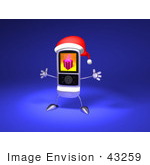 #43259 Royalty-Free (Rf) Illustration Of A 3d Cell Phone Holding Its Arms Out And Wearinga Santa Hat