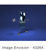 #43264 Royalty-Free (Rf) Illustration Of A Slim 3d Cellphone Holding Its Arms Out - Version 1