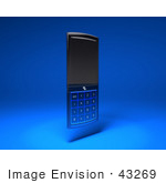 #43269 Royalty-Free (Rf) Clipart Illustration Of A 3d Modern Blue Cell Phone - Version 4