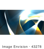 #43278 Royalty-Free (Rf) Illustration Of A Background Of Blue And Yellow Swooshes And Bright Lights - Version 2