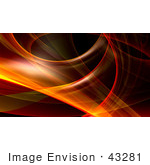#43281 Royalty-Free (Rf) Illustration Of A Red And Orange Fractal Swoosh Background - Version 4