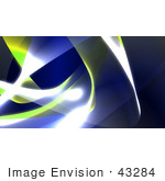 #43284 Royalty-Free (Rf) Illustration Of A Background Of Blue And Yellow Swooshes And Bright Lights - Version 3