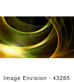 #43285 Royalty-Free (Rf) Illustration Of A Green And Yellow Fractal Swoosh Background On Black