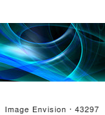 #43297 Royalty-Free (RF) Illustration of a Blue Fractal Swoosh Background On Black, Version 1 by Julos
