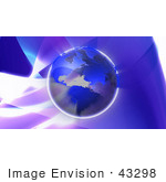 #43298 Royalty-Free (Rf) Illustration Of Earth With Blue Continents Over A Blue And Purple Background