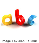 #43300 Royalty-Free (Rf) Clipart Illustration Of A Yellow A Red B And Blue C In 3d Angle 2