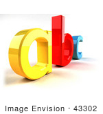 #43302 Royalty-Free (Rf) Clipart Illustration Of A Yellow A Red B And Blue C In 3d Angle 3