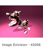 #43306 Royalty-Free (Rf) Illustration Of A Mean 3d Dog Wearing A Spiked Collar - Version 2