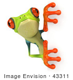 #43311 Royalty-Free (Rf) Illustration Of A Cute 3d Red Eye Tree Frog Looking Around A Blank Sign - Pose 3