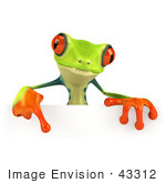 #43312 Royalty-Free (Rf) Illustration Of A Cute 3d Red Eye Tree Frog Pointing Down At And Standing Behind A Blank Sign