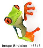 #43313 Royalty-Free (Rf) Illustration Of A Cute 3d Red Eye Tree Frog Looking Around A Blank Sign - Pose 4