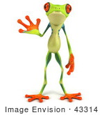 #43314 Royalty-Free (Rf) Illustration Of A Cute 3d Red Eye Tree Frog Facing Front And Waving