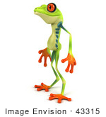 #43315 Royalty-Free (Rf) Illustration Of A Cute 3d Red Eye Tree Frog Standing And Facing Left
