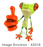 #43316 Royalty-Free (Rf) Illustration Of A Cute 3d Red Eye Tree Frog Giving The Thumbs Up