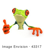 #43317 Royalty-Free (Rf) Illustration Of A Cute 3d Red Eye Tree Frog Giving The Thumbs Up And Standing Behind A Blank Sign