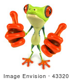 #43320 Royalty-Free (Rf) Illustration Of A Cute 3d Red Eye Tree Frog Giving Two Thumbs Up
