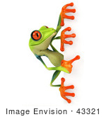 #43321 Royalty-Free (Rf) Illustration Of A Cute 3d Red Eye Tree Frog Looking Around A Blank Sign - Pose 2