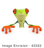 #43322 Royalty-Free (Rf) Clipart Illustration Of A 3d Red Eye Tree Frog Standing Behind A Blank Sign - Pose 2