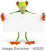 #43323 Royalty-Free (Rf) Clipart Illustration Of A 3d Red Eye Tree Frog Standing Behind A Blank Sign - Pose 1