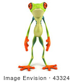 #43324 Royalty-Free (Rf) Clipart Illustration Of A 3d Red Eye Tree Frog Standing And Facing Front