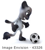 #43326 Royalty-Free (Rf) Clipart Illustration Of A 3d Siamese Cat Mascot Playing Soccer - Pose 2