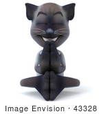 #43328 Royalty-Free (Rf) Clipart Illustration Of A 3d Siamese Cat Mascot Meditating - Pose 3