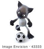 #43333 Royalty-Free (Rf) Clipart Illustration Of A 3d Siamese Cat Mascot Playing Soccer - Pose 3