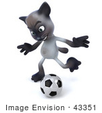 #43351 Royalty-Free (Rf) Clipart Illustration Of A 3d Siamese Cat Mascot Playing Soccer - Pose 4
