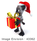 #43362 Royalty-Free (Rf) Clipart Illustration Of A 3d Siamese Cat Mascot In A Santa Hat Carrying A Gift - Pose 4