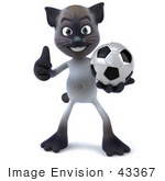 #43367 Royalty-Free (Rf) Clipart Illustration Of A 3d Siamese Cat Mascot Playing Soccer - Pose 1