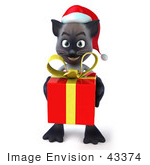 #43374 Royalty-Free (Rf) Clipart Illustration Of A 3d Siamese Cat Mascot In A Santa Hat Carrying A Gift - Pose 3