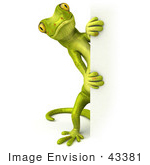 #43381 Royalty-Free (Rf) Illustration Of A 3d Green Gecko Mascot Looking Around A Blank Sign - Pose 2