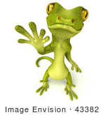 #43382 Royalty-Free (Rf) Illustration Of A 3d Green Gecko Mascot Standing And Waving - Version 2