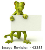 #43383 Royalty-Free (Rf) Illustration Of A 3d Green Gecko Mascot Holding A Blank Sign - Pose 2
