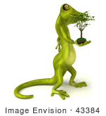#43384 Royalty-Free (Rf) Illustration Of A 3d Green Gecko Mascot Carrying A Plant - Version 2