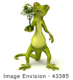 #43385 Royalty-Free (Rf) Illustration Of A 3d Green Gecko Mascot Carrying A Plant - Version 1