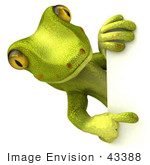 #43388 Royalty-Free (Rf) Illustration Of A 3d Green Gecko Mascot Looking Around And Pointing At A Blank Sign