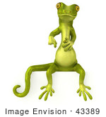 #43389 Royalty-Free (Rf) Illustration Of A 3d Green Gecko Mascot Sitting On And Pointing Down At A Blank Sign