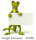 #43390 Royalty-Free (Rf) Illustration Of A 3d Green Gecko Mascot Holding A Blank Sign - Pose 1