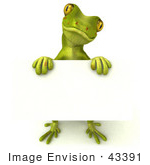 #43391 Royalty-Free (Rf) Illustration Of A 3d Green Gecko Mascot Holding A Blank Sign - Pose 3