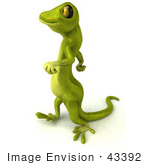 #43392 Royalty-Free (Rf) Illustration Of A 3d Green Gecko Mascot Walking To The Left