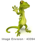 #43394 Royalty-Free (Rf) Illustration Of A 3d Green Gecko Mascot Standing And Waving - Version 3
