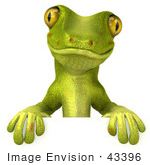 #43396 Royalty-Free (Rf) Illustration Of A 3d Green Gecko Mascot Standing Behind A Blank Sign - Pose 1