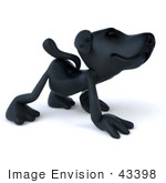 #43398 Royalty-Free (Rf) Illustration Of A 3d Black Lab Mascot Walking On All Fours