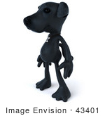 #43401 Royalty-Free (Rf) Illustration Of A 3d Black Lab Mascot Standing And Facing Left