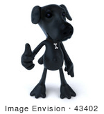 #43402 Royalty-Free (Rf) Illustration Of A 3d Black Lab Mascot Giving The Thumbs Up - Pose 1