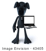 #43405 Royalty-Free (Rf) Illustration Of A 3d Black Lab Mascot With A Laptop - Version 3