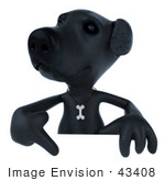 #43408 Royalty-Free (Rf) Illustration Of A 3d Black Lab Mascot Pointing To And Standing Behind A Blank Sign