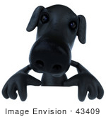 #43409 Royalty-Free (Rf) Illustration Of A 3d Black Lab Mascot Standing Behind A Blank Sign