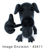 #43411 Royalty-Free (Rf) Illustration Of A 3d Black Lab Mascot Giving The Thumbs Up - Pose 3